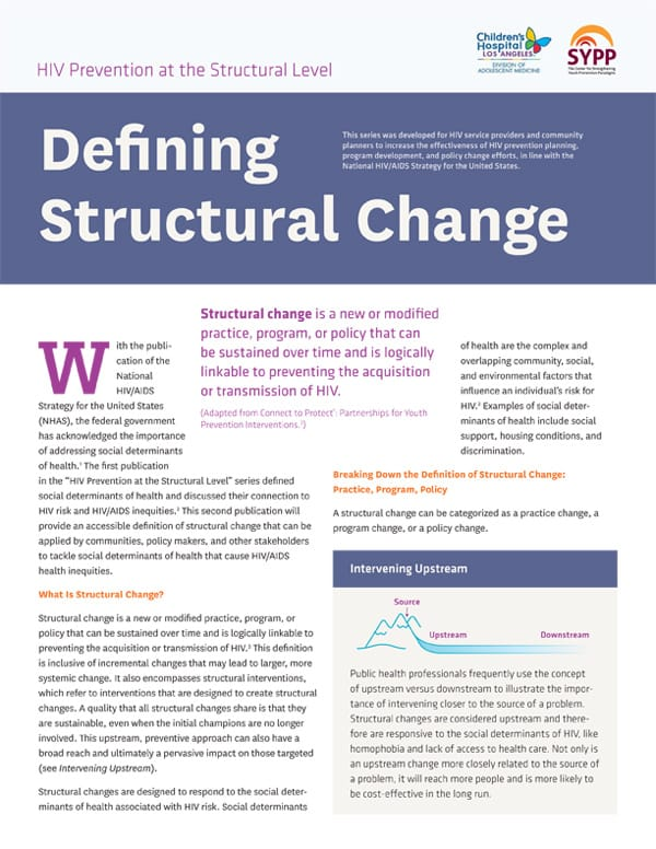 The cover of HIV Prevention at the Structural Level: Defining Structural Change