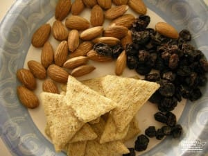 Nuts, crackers and raisins are some foods that present choking hazards to children.