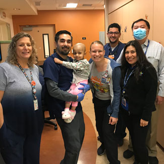 Ariana with medical team at Children's Hospital Los Angeles 4 West Inpatient Unit
