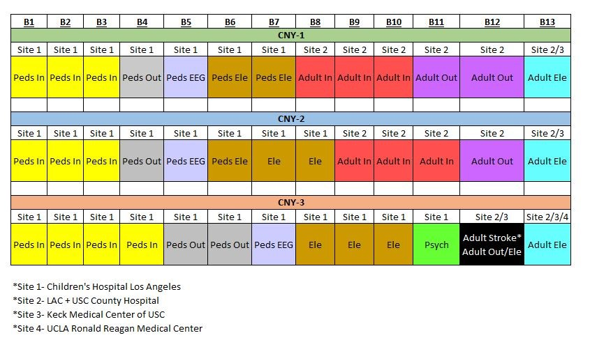 Table showing the Annual Block Schedule for the CHLA Child Neurology Training Program