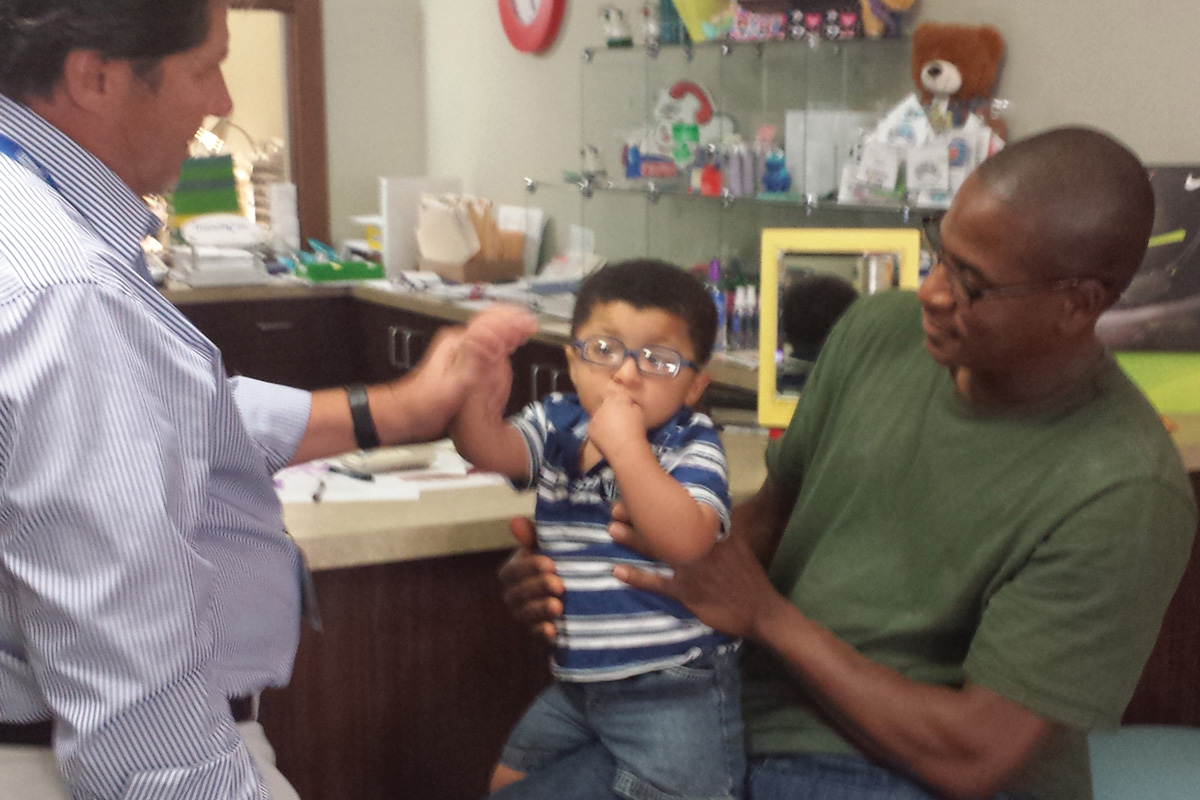 Jordan is fitted for his first pair of glasses.