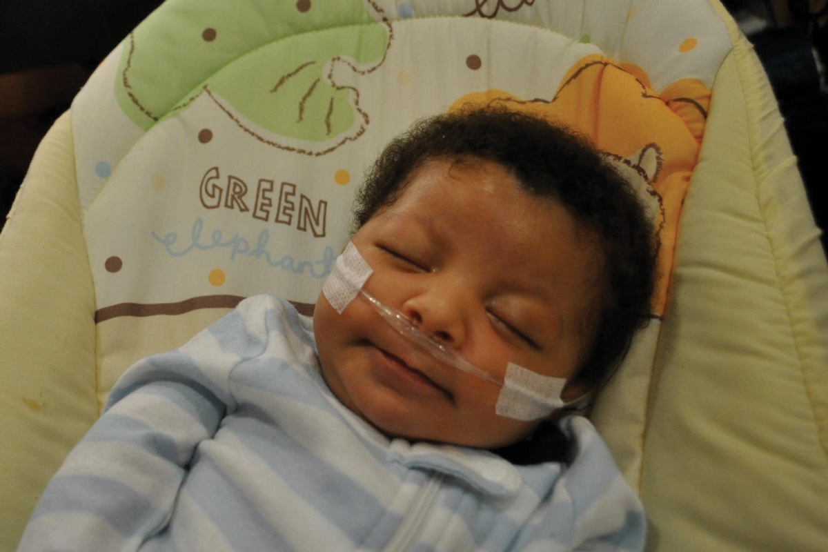 Jordan at 4 months old, after a stay in the hospital for RSV