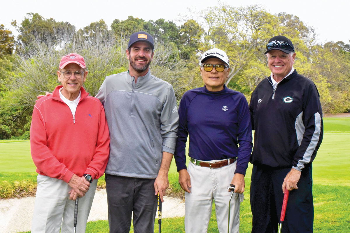 Left to right: Terry Green, Associate Senior Vice President of Development at CHLA; Peter Heilbron, member of the CHLA Foundation Board of Trustees; Sheldon Liu; and patient parent Buck Page at the Seahorse Classic