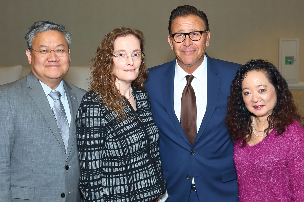 Left to right: Thomas C. Lee, MD, Director of The Vision Center at CHLA; Deborah Holder, MD, Director of the Comprehensive Epilepsy Center at CHLA; Gino LaMont; and Karen Kay Imagawa, MD, Director of the Audrey Hepburn CARES Center at CHLA and a member of the CHLA Foundation Board of Trustees