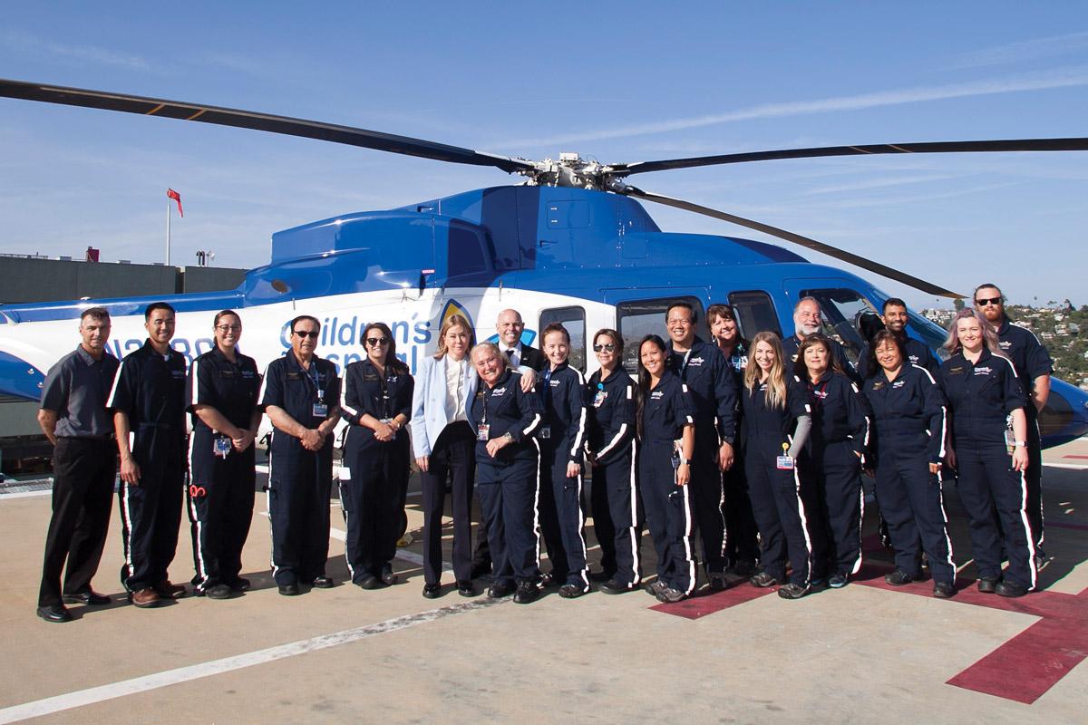 Kathryn Purwin (center) with team members of the CHLA Alan Purwin Emergency Transport Program