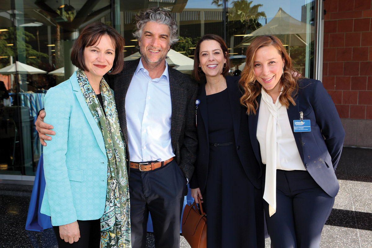 Left to right: Lauren Cosentino; Marco Cosentino; Alexandra Carter, CHLA Senior Vice President and Chief Development Officer; and Becky Lythgoe, a member of the CHLA Foundation Board of Trustees