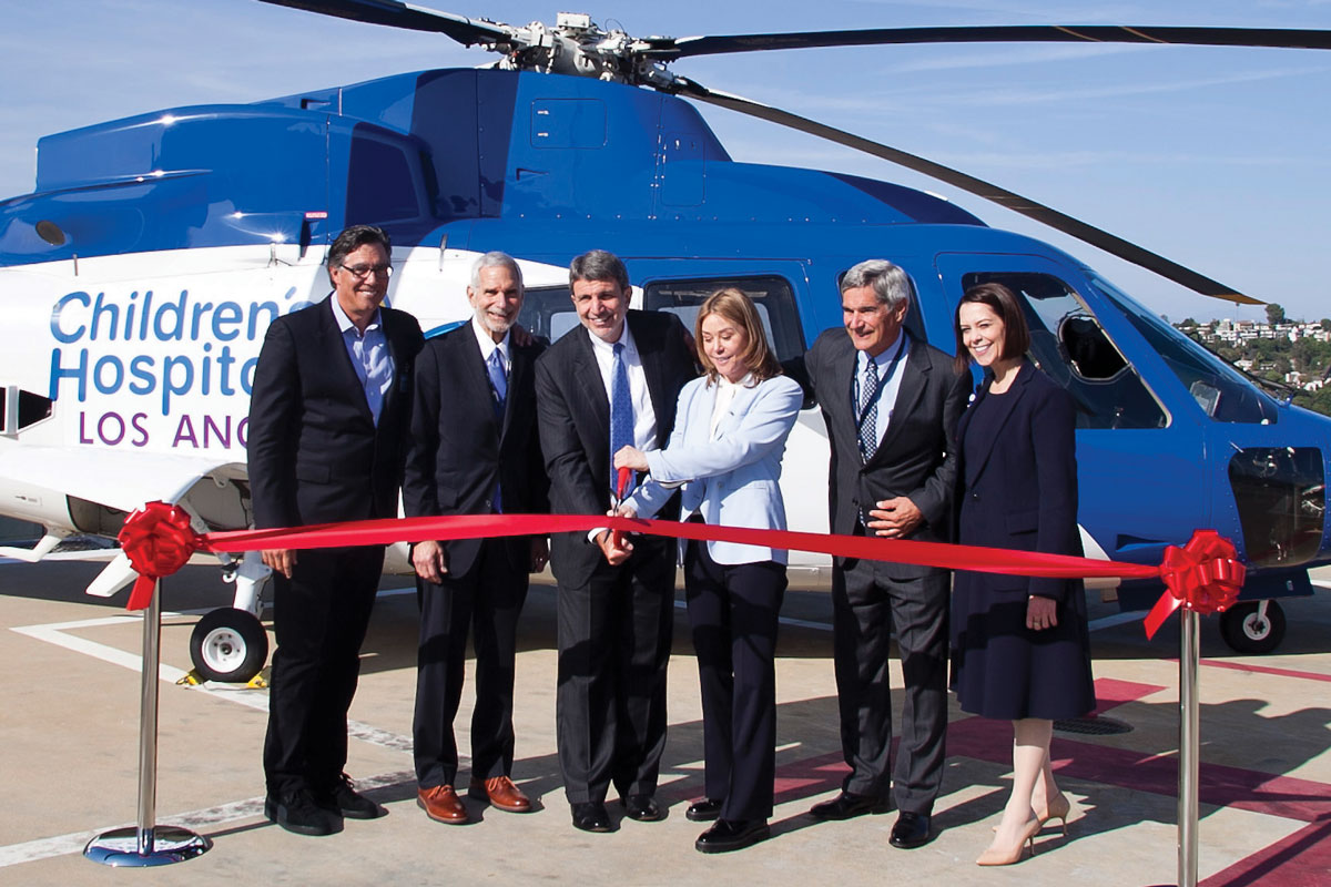 Left to right: Jeffrey Worthe, Chair of the CHLA Board of Directors and a member of the CHLA Foundation Board of Trustees; Arnold J. Kleiner, a member of the CHLA Foundation Board of Trustees; CHLA President and CEO Paul S. Viviano; Kathryn Purwin, Helinet Aviation CEO and a member of the CHLA Foundation Board of Trustees; Kevin Brogan, Chair of the CHLA Foundation Board of Trustees; and Alexandra Carter, Senior Vice President and Chief Development Officer at CHLA