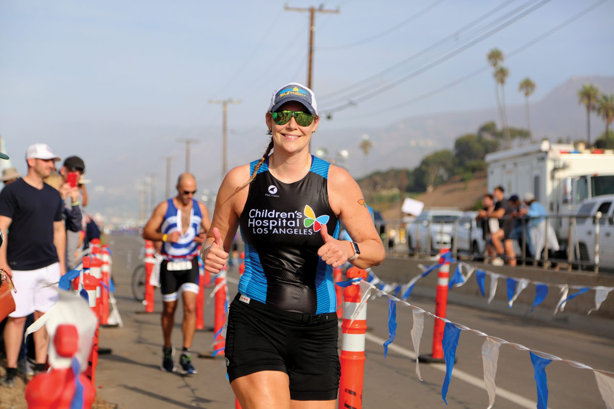 Team CHLA co-captain Leslie Stach flashes a smile during the last leg of the race.
