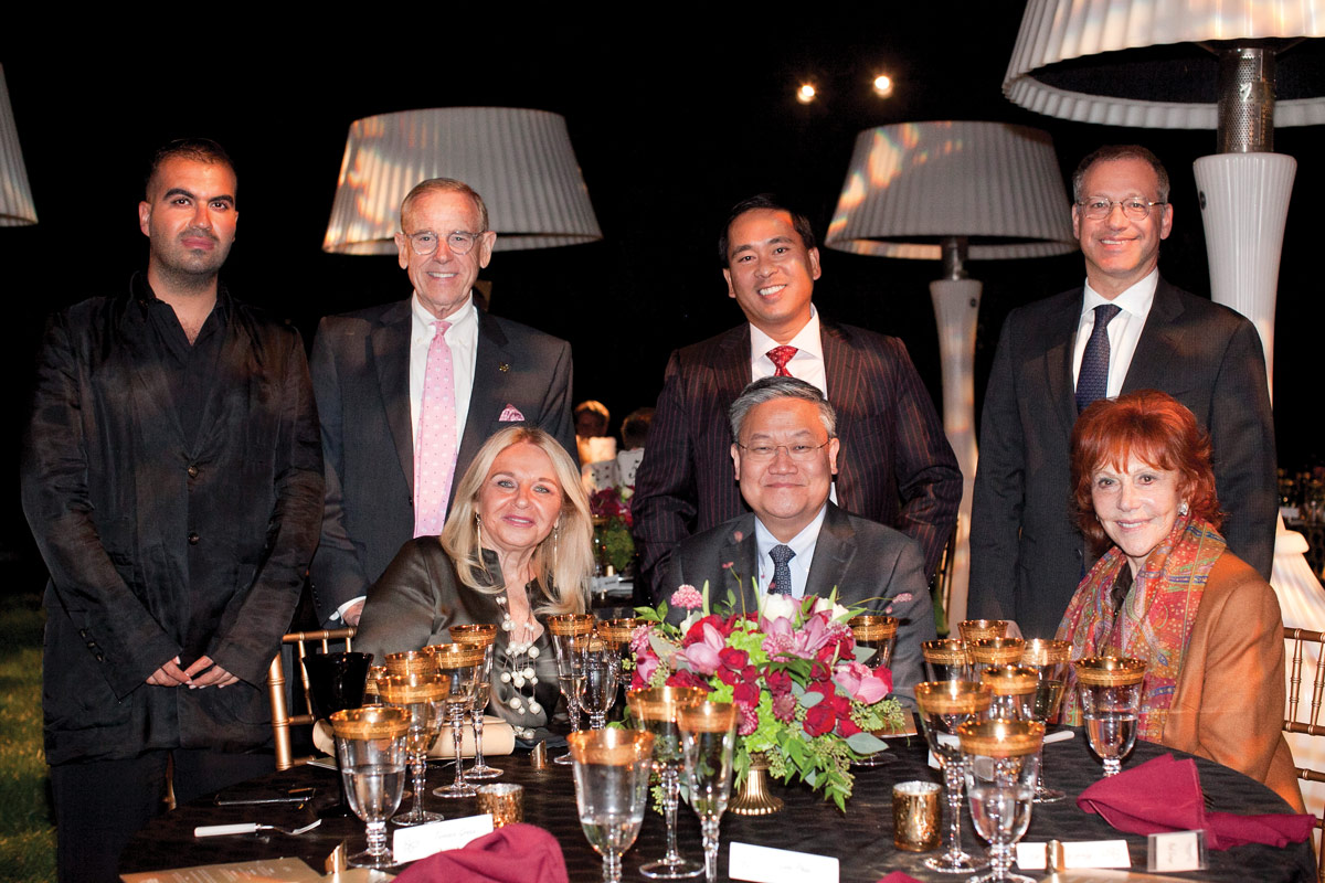 Back row, left to right: Abdul El Habash; Terry Green, Associate Senior Vice President of Development at CHLA; Luan Phan; and Mark Krieger, MD, Billy and Audrey L. Wilder Chair in Neurosurgery, CHLA Senior Vice President, Surgeon-in-Chief and Director of the Neurological Institute. Bottom row, left to right: Karol Pozniak; Thomas C. Lee, MD, Director of The Vision Center at CHLA; and Glorya Kaufman