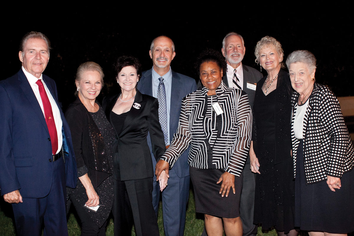 Left to right: Tony Zebrasky; Lois Bourgon; Eilish Zebrasky; Robert E. Shaddy, MD, Pasadena Guild Chair, Senior Vice President of Academic Affairs and Pediatricianin-Chief at CHLA; Glenda Jones; Jack Messenger; Sue Meckley; and Bonnie McClure, CHLA Foundation Trustee and Chair of the CHLA Associates and Affiliates