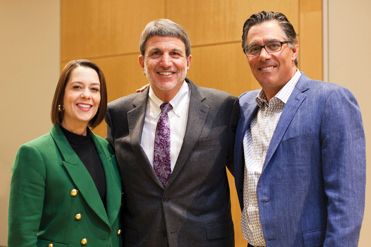 Left to right: CHLA Senior Vice President and Chief Development Officer Alexandra Carter; CHLA President and CEO Paul S. Viviano; and Jeffrey Worthe, Chair of the CHLA Board of Directors and a member of the CHLA Foundation Board of Trustees