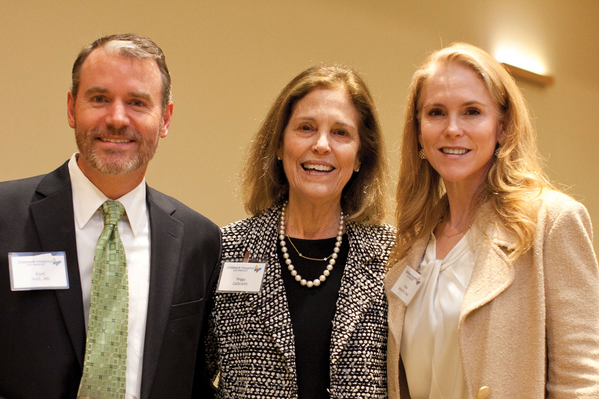 Left to right: Kjell Hult, MD, Peggy Galbraith, a member of the CHLA Foundation Board of Trustees, and Kate Galbraith Hult
