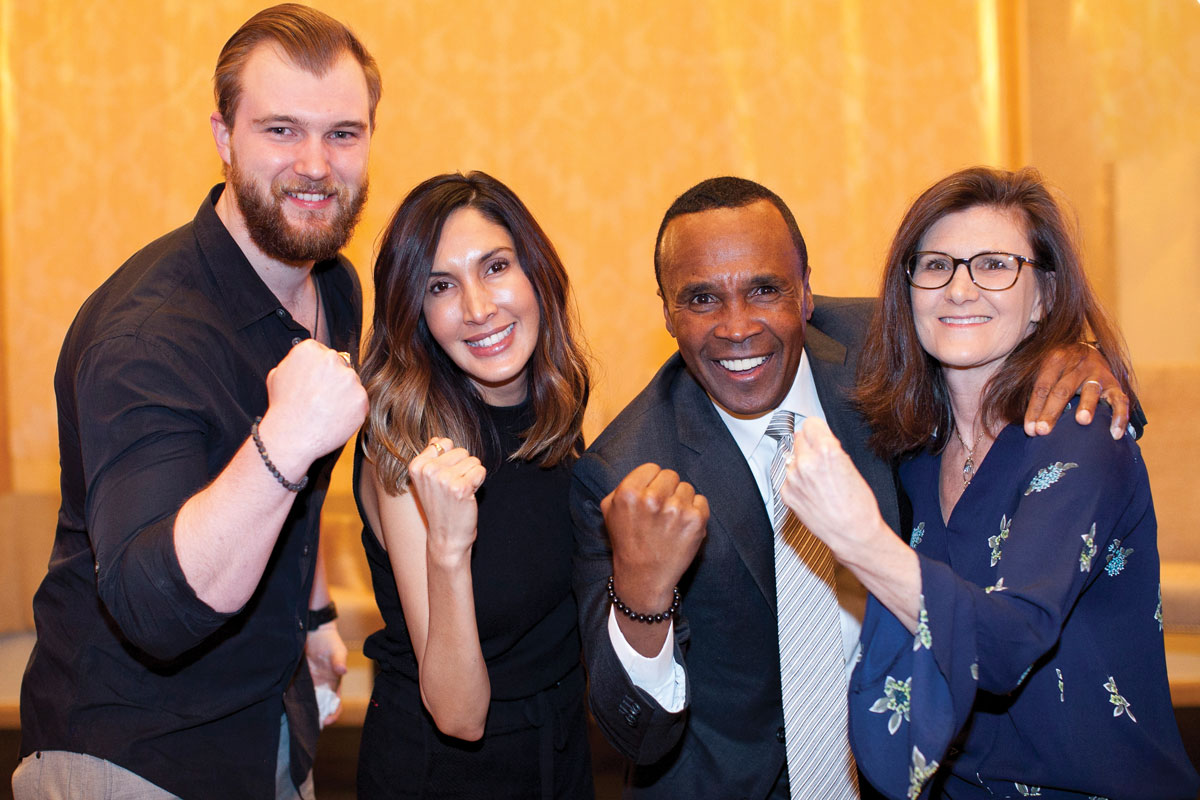 Left to right: Preston Blankenship, CHLA Foundation Trustee Yvonne Niami, Sugar Ray Leonard and CHLA Foundation Trustee Sheri Sani