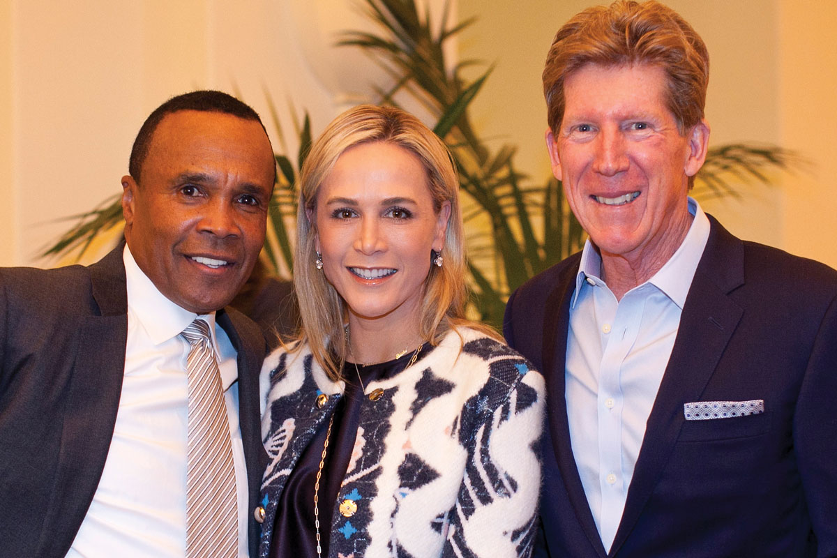 Left to right: Sugar Ray Leonard, CHLA Foundation Trustee Nancy Caroline Meidel and Greg Meidel