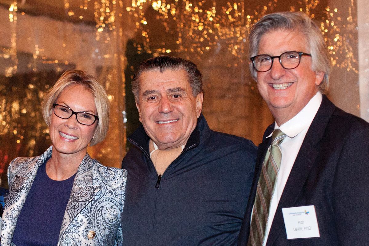 Left to right: Cheryl Saban, PhD, a member of the CHLA Foundation Board of Trustees; Haim Saban; and Pat Levitt, PhD, CHLA Vice President, Chief Scientific Officer, Director of The Saban Research Institute and the Simms/Mann Chair in Developmental Neurogenetics