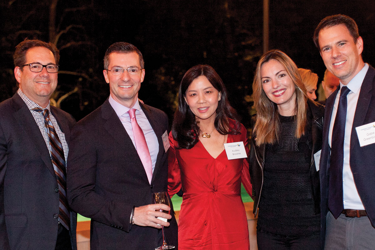 Left to right: CHLA Foundation Trustees Michael Schenkman and Bede Broome, MD, PhD; Audrey Broome; Emma Greenbaum; and CHLA Foundation Trustee Gabe Greenbaum