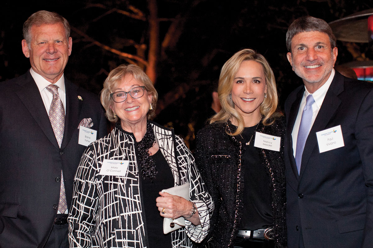 Left to right: Blaine Fetter; Mary Adams O'Connell and Nancy Caroline Meidel, both members of the CHLA Foundation Board of Trustees; and Paul S. Viviano
