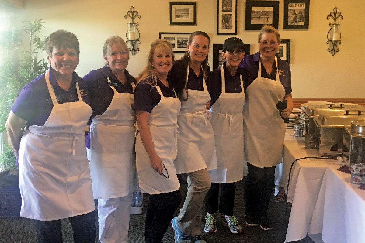 Antelope Valley Guild members helping to serve dinner at the 2019 golf tournament. Left to right: Carol Gee, Pam Lockwood, Bonnie Deardorff, Linette Hodson, Nellie Thomas and Jody Pontious