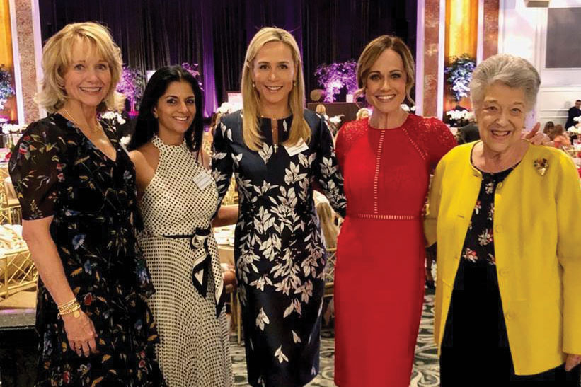 The 2019 Westside Guild Luncheon of Hope raised funds for CHLA. Left to right: Karen Goldberg, 2019 Westside Guild President; Zaheeda Rahemtulla, Westside Guild Benefit co-Chair; Nancy Caroline Meidel, Westside Guild Benefit co-Chair and a member of the CHLA Foundation Board of Trustees; actress Nikki DeLoach, a Foundation Trustee; and Bonnie McClure, CHLA Foundation Trustee and Chair of the CHLA Associates and Affiliates