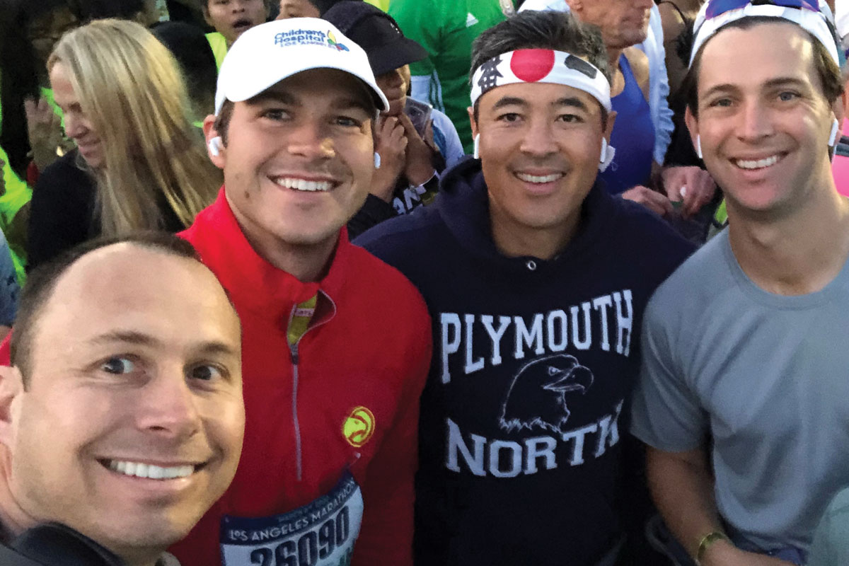 JP LeVeque (left) created Team Bash to raise money in honor of his nephew, Sebastian, who received care at CHLA. LeVeque is joined by friends (left to right) Vince Korth, Conor Taniguchi and Dan Cichocki.