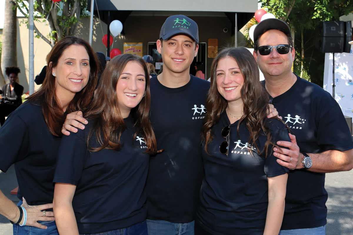 Elisa (left) and Michael Schenkman (far right), both members of the CHLA Foundation Board of Trustees, with their children, Amanda (second from left), Gabe and Shelby, at the Fifth Annual GOFARR Funfest on Nov. 11, 2018