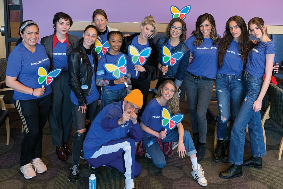 Celebrities and social media influencers joined together in support of Make March Matter during a CHLA Hollywood Cares for Kids Third Thursday event. These special guests delivered coffee, tea and snacks to families and staff and enjoyed craft projects with patients. Top row, left to right: Darlene Rodrigo, Rowan Blanchard, Cara Santana, Caroline Stewart, Skai Jackson, Charlotte McKinney, Victoria Arlen, Megan Henderson, Isabel Pakzad and Kaia Gerber. Bottom row, left to right: Harry Hudson, Anne Winters