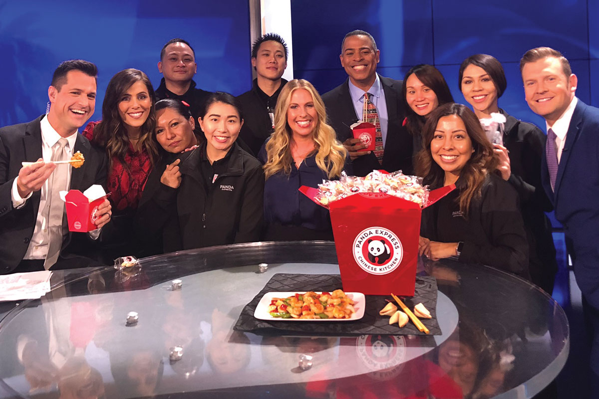 Members of the Panda Express Panda Cares team and restaurant associates, along with Jillian Green, Assistant Vice President, Corporate Partnerships at CHLA (center), visit KTLA to celebrate fundraising efforts for Make March Matter.