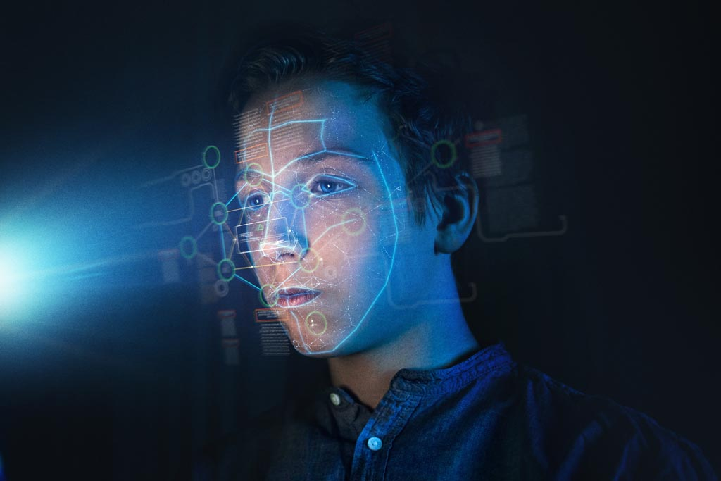 Boy's face being scanned for facial recognition