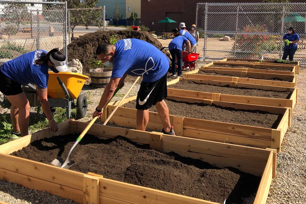 Volunteers Helping Seed Garden