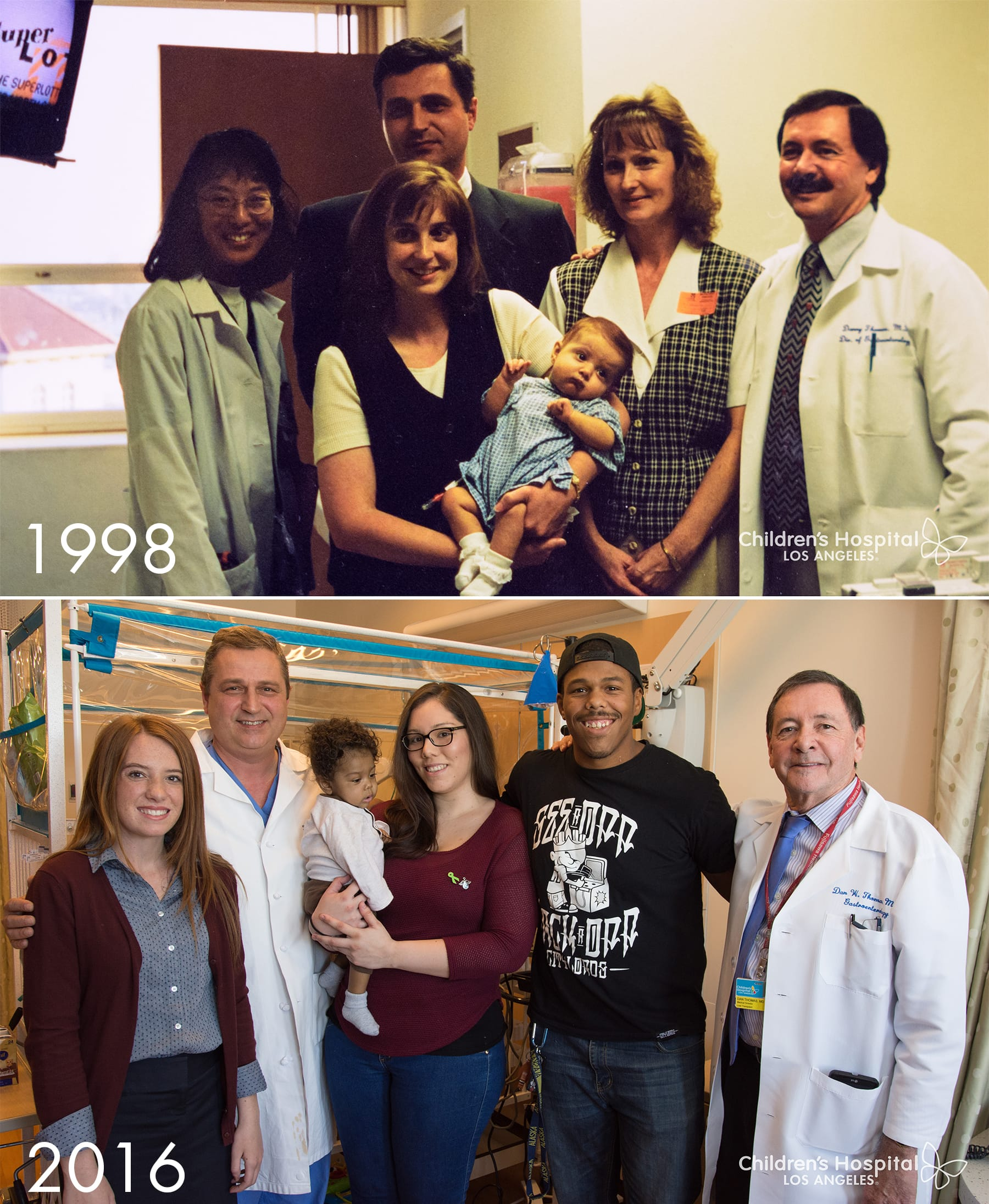 Top: Lydia Hand as an infant post-transplant in 1998, with her mother, grandmother and liver transplant team. Bottom: Baby Donovan Daniels and his parents post-transplant in 2016, joined by doctors and Lydia, now 18.